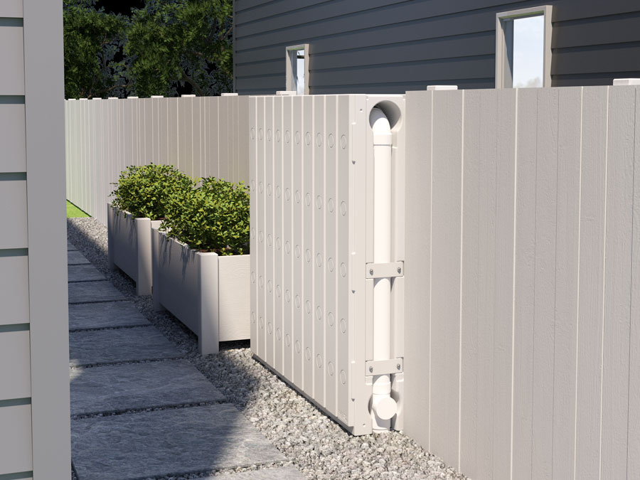 Thin Water Tank installed in fence of new home