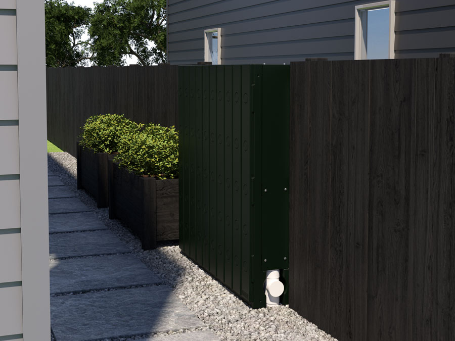 Discreet Stormwater Management Solution installed on fence of new house